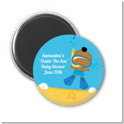 Under the Sea African American Baby Boy Snorkeling - Personalized Baby Shower Magnet Favors