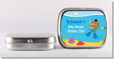 Under the Sea African American Baby Boy Snorkeling - Personalized Baby Shower Mint Tins