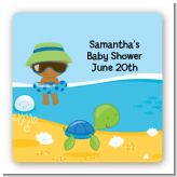 Beach Baby African American Boy - Square Personalized Baby Shower Sticker Labels