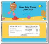 Under the Sea African American Baby Girl Snorkeling - Personalized Baby Shower Candy Bar Wrappers