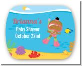 Under the Sea African American Baby Girl Snorkeling - Personalized Baby Shower Rounded Corner Stickers
