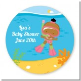 Under the Sea African American Baby Girl Snorkeling - Personalized Baby Shower Table Confetti