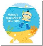 Under the Sea Asian Baby Boy Snorkeling - Personalized Baby Shower Centerpiece Stand