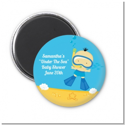 Under the Sea Asian Baby Boy Snorkeling - Personalized Baby Shower Magnet Favors