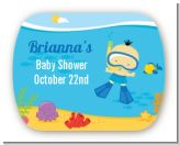 Under the Sea Asian Baby Boy Snorkeling - Personalized Baby Shower Rounded Corner Stickers
