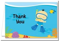 Under the Sea Asian Baby Boy Snorkeling - Baby Shower Thank You Cards