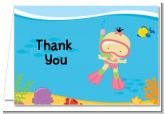 Under the Sea Asian Baby Girl Snorkeling - Baby Shower Thank You Cards