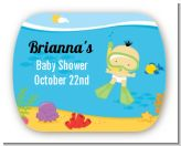 Under the Sea Asian Baby Snorkeling - Personalized Baby Shower Rounded Corner Stickers