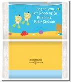 Under the Sea Asian Baby Twins Snorkeling - Personalized Popcorn Wrapper Baby Shower Favors