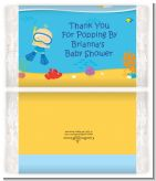 Under the Sea Baby Boy Snorkeling - Personalized Popcorn Wrapper Baby Shower Favors