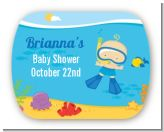 Under the Sea Baby Boy Snorkeling - Personalized Baby Shower Rounded Corner Stickers