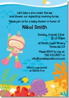 Under the Sea Baby Girl Snorkeling - Baby Shower Invitations