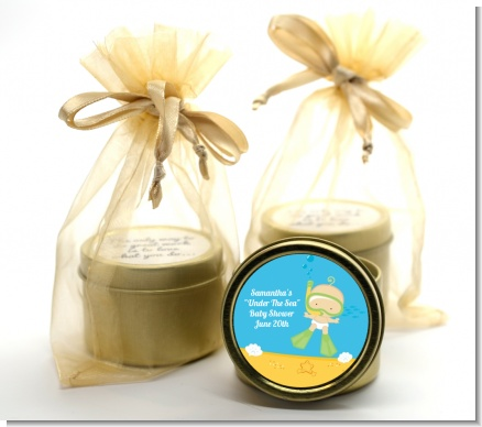 Under the Sea Baby Snorkeling - Baby Shower Gold Tin Candle Favors
