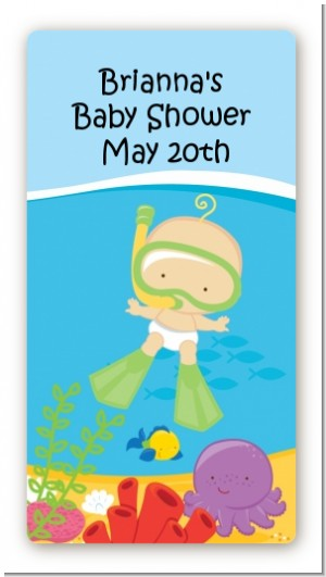 Under the Sea Baby Snorkeling - Custom Rectangle Baby Shower Sticker/Labels