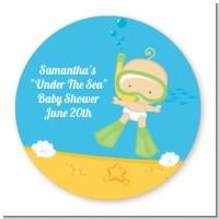 Under the Sea Baby Snorkeling - Round Personalized Baby Shower Sticker Labels