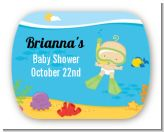 Under the Sea Baby Snorkeling - Personalized Baby Shower Rounded Corner Stickers