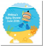 Under the Sea Hispanic Baby Boy Snorkeling - Personalized Baby Shower Centerpiece Stand