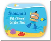 Under the Sea Hispanic Baby Boy Snorkeling - Personalized Baby Shower Rounded Corner Stickers
