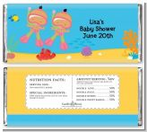 Under the Sea Hispanic Baby Girl Twins Snorkeling - Personalized Baby Shower Candy Bar Wrappers