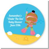 Under the Sea African American Baby Girl Snorkeling - Round Personalized Baby Shower Sticker Labels