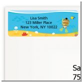 Under the Sea African American Baby Snorkeling - Baby Shower Return Address Labels