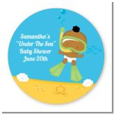Under the Sea African American Baby Snorkeling - Round Personalized Baby Shower Sticker Labels