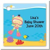Under the Sea Asian Baby Girl Snorkeling - Personalized Baby Shower Card Stock Favor Tags