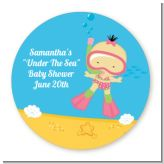 Under the Sea Asian Baby Girl Snorkeling - Round Personalized Baby Shower Sticker Labels