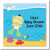 Under the Sea Asian Baby Snorkeling - Personalized Baby Shower Card Stock Favor Tags