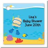 Under the Sea Baby Boy Snorkeling - Personalized Baby Shower Card Stock Favor Tags
