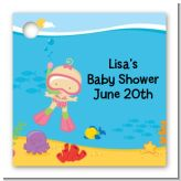 Under the Sea Baby Girl Snorkeling - Personalized Baby Shower Card Stock Favor Tags