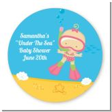 Under the Sea Baby Girl Snorkeling - Round Personalized Baby Shower Sticker Labels