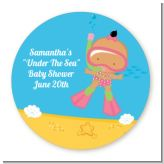 Under the Sea Hispanic Baby Girl Snorkeling - Round Personalized Baby Shower Sticker Labels
