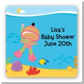 Under the Sea Hispanic Baby Girl Snorkeling - Square Personalized Baby Shower Sticker Labels