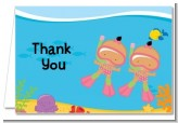 Under the Sea Hispanic Baby Girl Twins Snorkeling - Baby Shower Thank You Cards