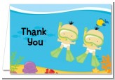 Under the Sea Asian Baby Twins Snorkeling - Baby Shower Thank You Cards