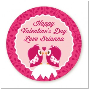 Valentine Animals - Round Personalized Valentines Day Sticker Labels
