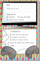 Video Game Time - Birthday Party Fill In Thank You Cards