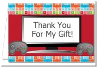 Video Game Time - Birthday Party Thank You Cards