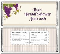 Vineyard Splash - Personalized Bridal Shower Candy Bar Wrappers