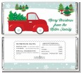 Vintage Red Truck With Tree - Personalized Christmas Candy Bar Wrappers thumbnail