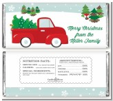 Vintage Red Truck With Tree - Personalized Christmas Candy Bar Wrappers