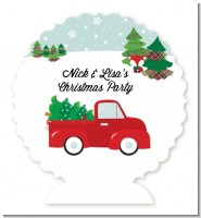 Vintage Red Truck With Tree - Personalized Christmas Centerpiece Stand