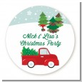 Vintage Red Truck With Tree - Round Personalized Christmas Sticker Labels thumbnail