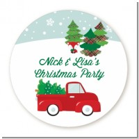Vintage Red Truck With Tree - Round Personalized Christmas Sticker Labels