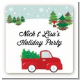 Vintage Red Truck With Tree - Square Personalized Christmas Sticker Labels thumbnail