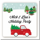 Vintage Red Truck With Tree - Square Personalized Christmas Sticker Labels