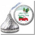 Vintage Red Truck With Tree - Hershey Kiss Christmas Sticker Labels thumbnail