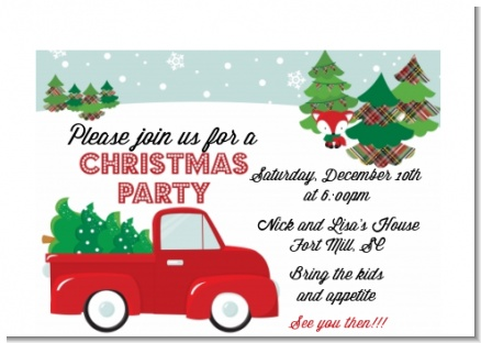 Vintage Red Truck With Tree - Christmas Petite Invitations