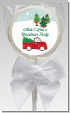 Vintage Red Truck With Tree - Personalized Christmas Lollipop Favors